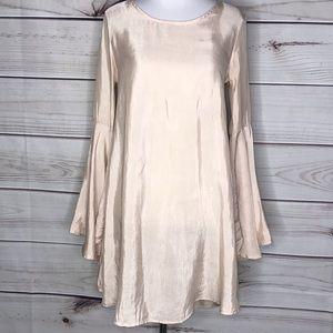 June & Hudson Peach Silk Boho Bell Sleeve Blouse
